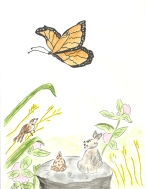 Butterfly illustration from Amazing Matilda - A Monarch's Tale - Children's Book Review on Mungai and the Goa Constrictor