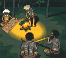 An illustration from Old Man Gapu sitting round the fire at the ceremony -Children's Book Review on Mungai and the Goa Constrictor