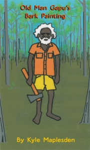 Old Man Gapu's Bark Painting by Kyle Maplesden - Book cover - Children's Book Review on Mungai and the Goa Constrictor