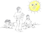 Picture of the sun watching children with their pets - Children's Book Review on Mungai and the Goa Constrictor