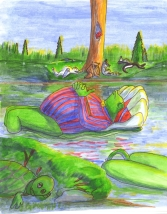 Thomas and the Lily Pond - sample image - Children's Book Review on Mungai and the Goa Constrictor